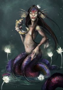 While western mermaids can be described as having a human upper body and a fish tail, the Ningyo can have a varying amount of human and fish features depending on the story. Sometimes they just resemble a fish with a human face or be seen as hideously ugly or deformed otherworldly nightmares.