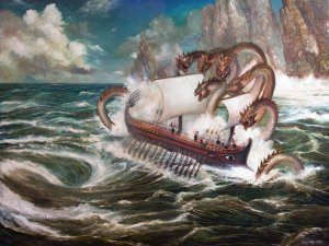 Opposite of Charybdis was Scylla which was a cave dwelling and six headed sea monster. If you wish to pass her, you'd have to give up six of your sailors. Of course, Odysseus tried to have her mom intervene but lost six sailors anyway.