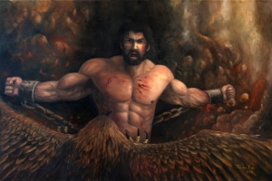 Here's Prometheus being chained to the Caucasian mountains and having a giant eagle devour his liver on a daily basis all because he stole fire from Mount Olympus for humanity. Of course, he knew this would happen when Zeus would find out. Luckily, he'll be freed by Hercules soon enough.
