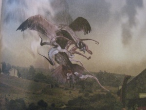 Yes, that tentacled bird carrying a cow is a Snallygaster, best known for its fight with the Dwayyo. Also, well known for taking large livestock that some Maryland have 7 pointed stars on their barns. Hey, don't ask me for I didn't make up this creature.