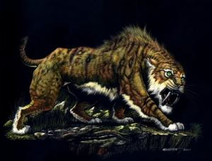 No, this isn't Diego from Ice Age or a Saber Tooth Tiger. It's actually an Ennedi Tiger from the Ennedi Plateau in Central Africa. Sure it can rip you to shreds but it's a cryptid, you might want to take its picture if you saw it.