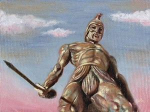Now this is Talos as designed by Ray Harryhausen for Jason and the Argonauts. However, remember he's not the guy who's modeled for the Colossus of Rhodes. That would be Helios. Still, he does a Colossus of Rhodes pose in the movie.