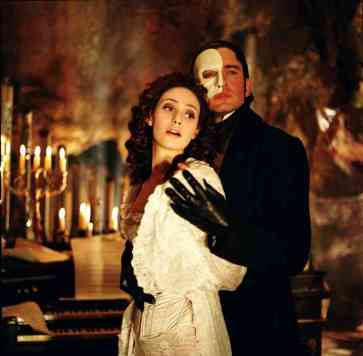 The Phantom of the Opera and Christine in the movie
