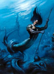 Though he is a merman and carries a trident, he's not Ariel's dad from The Little Mermaid. Rather he's Triton who's the messenger of the sea who also carried a conch shell he blew to control the waves.