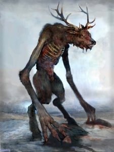 The Wendigo is a very violent creature from Native American legend known to feast on human flesh in snowy forests.  Still, it has been mentioned by Henry Wadsworth Longfellow in his 1855 Song of Hiawatha. And it is prevalent in a lot of recent media depictions.
