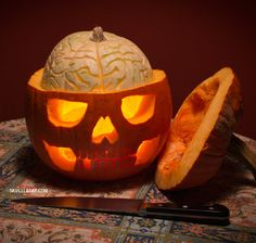Sure it may look clever but that brain gourd seems too close to the real thing. Also, it might scare the kids.