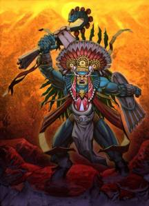 Huitzilopochtli is one of the newer gods of the Aztec pantheon who's best known for helping them founding the city of Tenochtitlan. However, he's one of the most bloody since it's said there were over 20,000 human sacrifices conducted in his honor for 4 days.