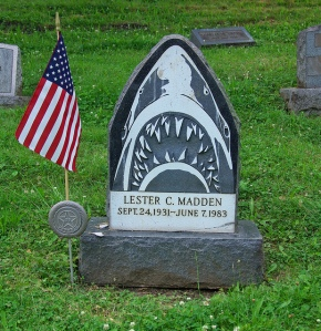 It also helps that this guy was a Vietnam vet and this design could've possibly been on some craft he was on. Still, how would you want to run into this grave in a cemetery?