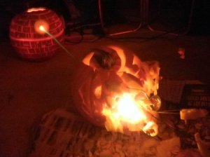 Now this isn't a safe pumpkin and a rather traumatizing one to Star Wars fans. Hope this isn't where kids could walk through.