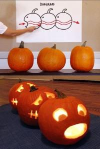 For those who've seen the terrible Human Centipede movies, I'm sure you'd probably not want your kids to visit a house with a pumpkin carving designed to imitate this. Seriously, it's disturbing.