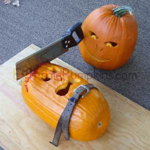 Now this is just graphic and sick. I understand gory Halloween displays, but this just frightens trick or treaters.