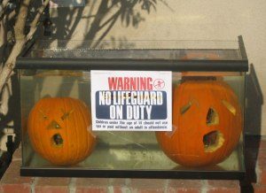However, just don't create the impression of your carved pumpkins drowning. I mean drowning isn't something people should joke about, even on Halloween. This is especially true for those who live near the coast or work at a pool.