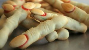 Now these are most likely breaded fingers with nut nails on them. Still, it's a great way to trick vegetarians into thinking they've committed cannibalism.