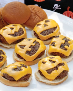 Of course, you have to carve jack-o-lantern faces on the cheese before you attach them to the burgers. Then again, my dad likes to toast the cheese to the bun anyway.