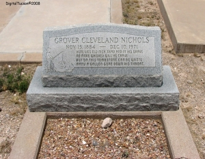 Sure Grover Cleveland Nichols may have liked his whiskey, but it's amazing that he lived to be 87 as you see by his life dates.