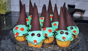Of course, they remind me of blue witches' cats in cone hats and covered in blue icing. Yet, what do I know about what witches look like?