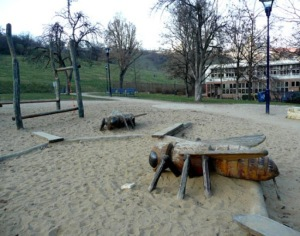 Now, kiddos, I bring you the playground of your nightmares. Or rather my nightmares. Seriously, what's with the giant bugs?