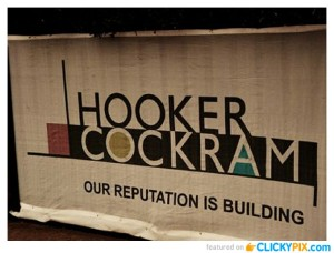 "From a comment on a Tumblr site Awkward Names: ""Just found this company in our contact database. They have an employee called R. Wang. So there's a guy called R. Wang, working at a company that specialises in erections, called Hooker Cockram."""