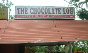 "Now there are great names for a candy and coffee store. Yet, I'm sure ""chocolate log"" isn't one of them because it's another word for ""shit."""