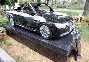 Seriously, either the car is real or it's made from granite. If it's real, then why is it on this person's grave when it should be passed on to his or her relatives? Either way, this memorial certainly didn't come cheap.