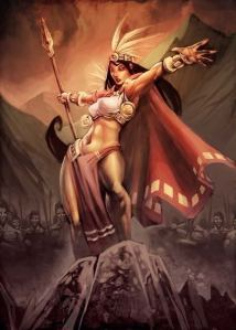 Cihuacoatl was the Aztec goddess who presided over battles and childbirth as well head of the Cihuateteo. However, she's also known to abandon her son Mixcoatl and later regret it as a possibly inspiration for La Lllorona.