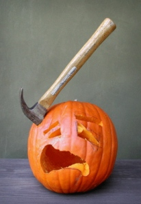 I don't think making a pumpkin depicting a garage mishap may not be very funny as it is on Home Improvement. Sad to say. Still, when you want to do a hammer head pumpkin, stick wit the shark.