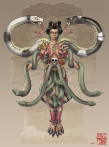 Coatlicue was a mother goddess best known to have Huitzilopochtli conceived through a ball of feathers to her other children's chagrin. Though seen as a loving mother, she tends to consume everything that lives explaining her hideous choice of fashion.