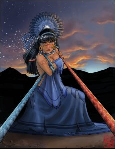 Coyolxauhqui was a powerful magician and head of the 400 Southern Stars. Yet, when her mother fell pregnant, she sought to kill but got dismembered and became the moon by a newborn Huitzilopochtli.
