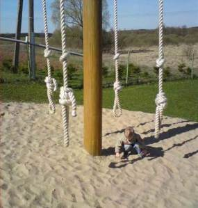 Is it just me or do these playground ropes seem to be tied like hanging nooses at the ends? Of course, I hope this isn't in Russia and that kid doesn't seem to have to end it all. Because I know a convenient place he could do it.