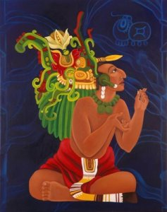 Centeōtl was one of the more important gods in the Aztec pantheon since he was the maize deity. Of course, despite being explicitly a man in Aztec myth (or sort of), he tends to be portrayed as a woman in contemporary art. This is one of the few paintings he isn't and is wearing his corn headdress.