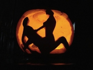 Now I've seen a lot of these pumpkin carvings with sex imagery. This one is about as tame as you can get. Still, I'm sure such pumpkin imagery is sure to offend parents.