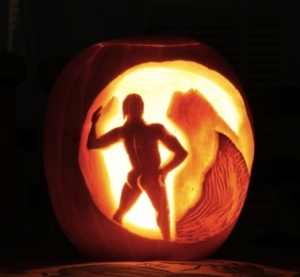 I've seen a lot of pumpkins featuring naked backsides as well. The lady ones usually pertain to a witch. This one was about the least offensive but still inappropriate.
