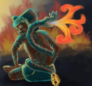 Xiuhtecuhtli was the god of fire and time who was associated with the Aztec New Fire Ceremony held every 52 years. Yet, other than his role in ceremonies, he doesn't seem to appear much in myths.