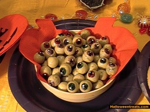 Actually, they're deviled eggs made to resemble eyeballs. Still, they're enough to make you gag or lose your appetite.