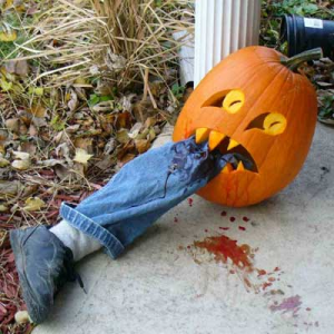 Now this is pretty sick if you really think about it. Still, this pumpkin display is guaranteed to give young trick or treaters nightmares.