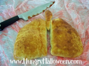 I hope these golden brown lungs taste better than they look. I mean seriously, a lung calzone?