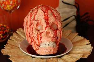 So I guess having a bloody skull cake covered in white icing would've made it seem too realistic and graphic for some people. Still, quite disgusting.