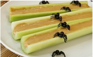 Wait, those must be spiders on a log. As if ants on a log isn't creepy enough. Well, at least it doesn't have raisins.