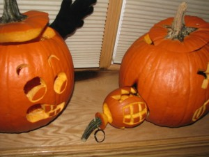 Now I'm sure a pumpkin grenade isn't dangerous but it may trigger some painful memories among the war veterans in your life. Also, I'm sure that pumpkin on the left is scared shitless.