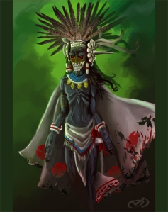Mictlantecuhtli is the god of the dead and Lord of Mictlan (the deepest place in the Aztec underworld which takes 4 years to get to). Though not necessarily evil, he's not particularly nice and actually tried to stop Quetzalcoatl from creating humanity. Also is as creepy as hell.