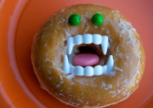 Now this is a pretty ghoulish doughnut. Yet, what's scarier about this ferocious fritter is the damage it can do to your arteries.