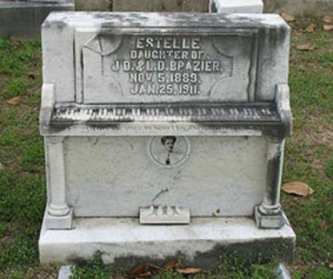 Yes, they put photos on graves stones back in 1911 though it's probably much more difficult and expensive than it is now. Same goes for the piano tombstone, which is a spinet, I believe.