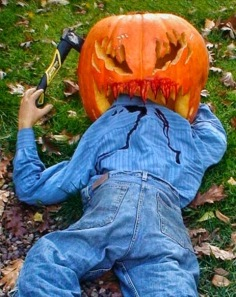 This is just too graphic for children trick or treaters. Let's just say, one look at this and a child may be too traumatized to either carve pumpkins or do any landscaping.