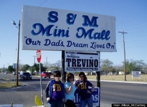 S & M Mini Mall: the shopping center that caters to all your BDSM needs. I bet this is the ultimate shopping destination for the dominatrix where she could buy a gimp suit and the latest designer cat o' nine tails.