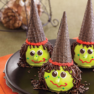 Love the green heads on these. Of course, these treats are more or less adorable than scary. Still appropriate though.