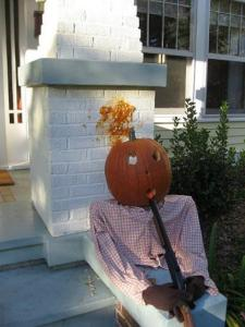 Okay, now this is just plain wrong. Seriously, suicide is nothing to laugh about, especially via shotgun. Also, very graphic with the pumpkin stuff on the wall.