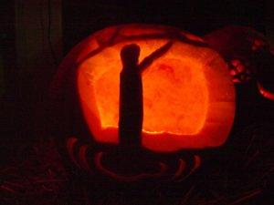 What it's supposed to be: A scene from Dirty Dancing featuring Patrick Swayze. What it looks like: Someone doing a Nazi salute. Moral: some scenes in pumpkins may look really different than what the carver intended.
