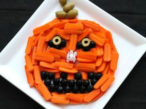 Not scary but mostly made out of baby carrots and olives. Will give you a rather healthy but appetizing snack.