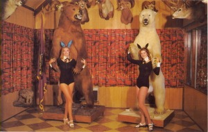 I'm sure it wouldn't be that fun to pose with these bears if they weren't shot and mounted as hunting trophies first. Still, I'm sure you couldn't get away with these photo ops nowadays or PETA would be all over your ass.