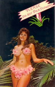 Yet, by the look at her face, she sort of wants you to, if you know what I mean. Either that, or the flower stems in her nipples must be very painful.